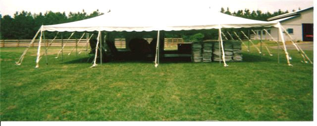 Where to find 40 x40  Red   White pole tent in New Port Richey