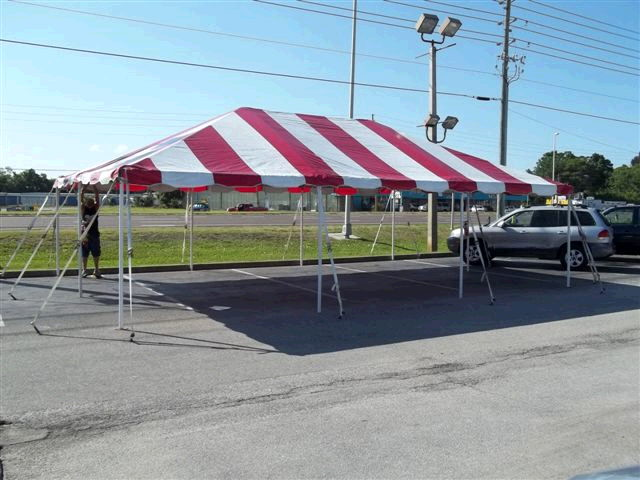 Where to find 20 x30  Red   White frame tent in New Port Richey
