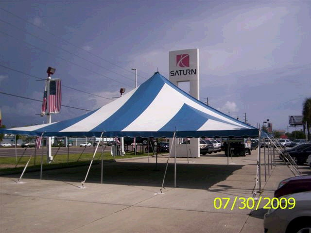 Where to find 40 x40  Blue White pole tent in New Port Richey
