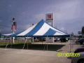 Where to rent 40 x40  Blue White pole tent in New Port Richey FL